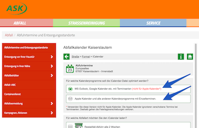 Select the Kalendarprogramme, which means Calendar Program in German