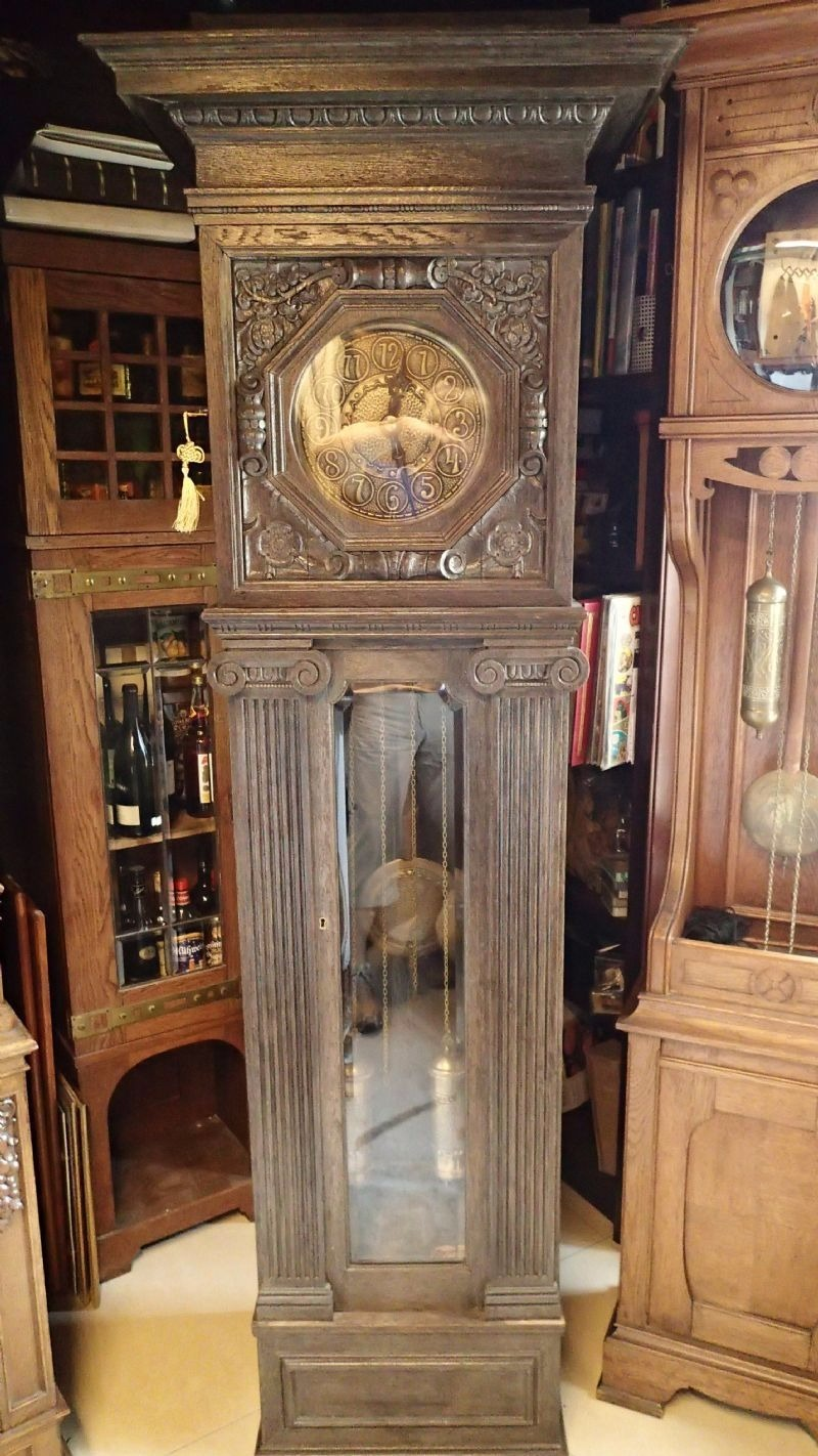 1920  30 u0026 39 s german made fms solid oak grandfather clock