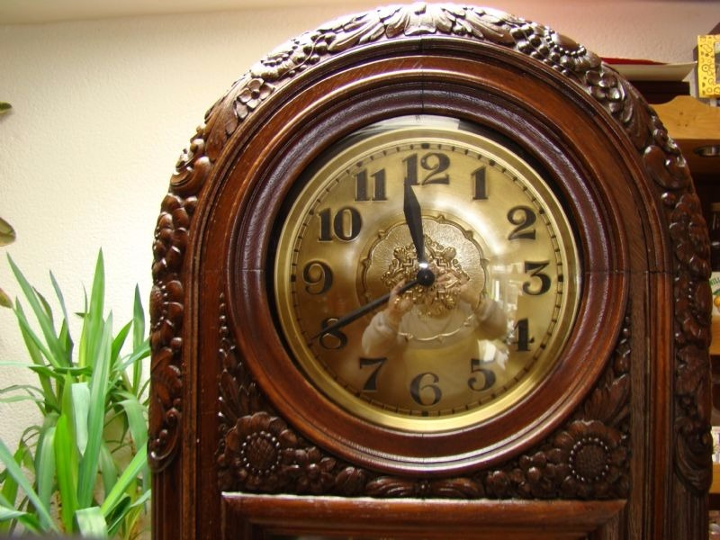German 1910 S Carved Round Top Grandfather Clock Quarter Striking