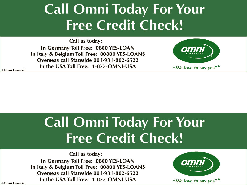 free credit check coupon posted by omni financial on the find it guide military and business. Black Bedroom Furniture Sets. Home Design Ideas